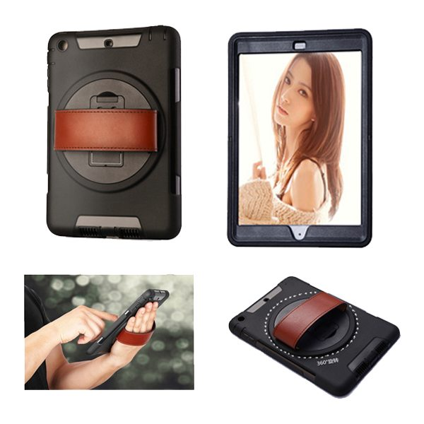 360 Degree Rotatable Plastic Protective Case for iPad Mini 3/ 2/ 1 with Stand and Handle (Black)