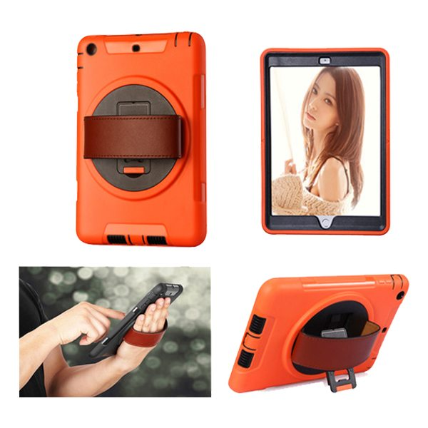 360 Degree Rotatable Plastic Protective Case for iPad Mini 3/ 2/ 1 with Stand and Handle (Orange)