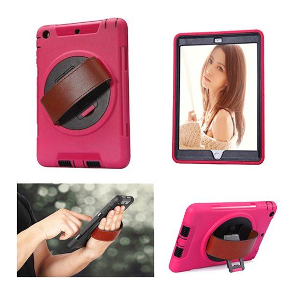 360 Degree Rotatable Plastic Protective Case for iPad Mini 3/ 2/ 1 with Stand and Handle (Rose)