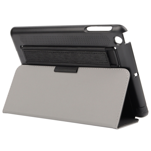 Toothpick Texture Protective Flip Leather Case for iPad Mini 3/ 2/ 1 with Elastic Strap (Black)