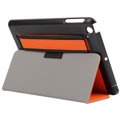 Toothpick Texture Protective Flip Leather Case for iPad Mini 3/ 2/ 1 with Elastic Strap (Orange)