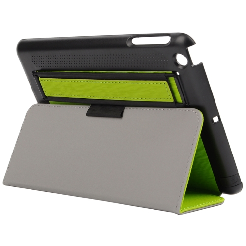 Toothpick Texture Protective Flip Leather Case for iPad Mini 3/ 2/ 1 with Elastic Strap (Green)