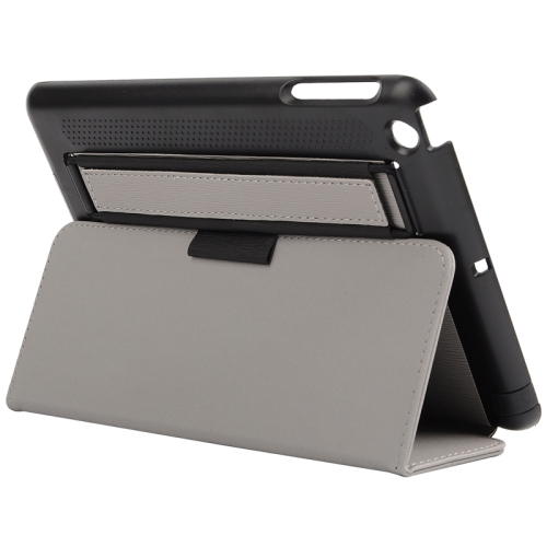Toothpick Texture Protective Flip Leather Case for iPad Mini 3/ 2/ 1 with Elastic Strap (Grey)