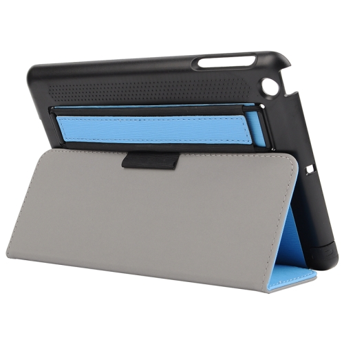 Toothpick Texture Protective Flip Leather Case for iPad Mini 3/ 2/ 1 with Elastic Strap (Blue)