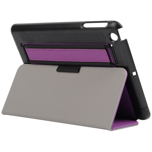 Toothpick Texture Protective Flip Leather Case for iPad Mini 3/ 2/ 1 with Elastic Strap (Purple)