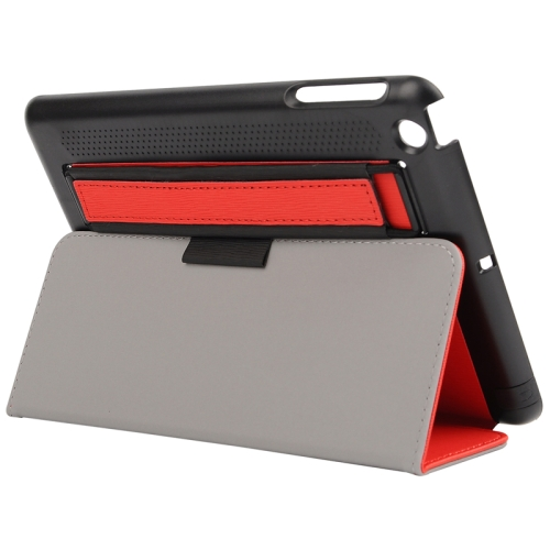 Toothpick Texture Protective Flip Leather Case for iPad Mini 3/ 2/ 1 with Elastic Strap (Red)