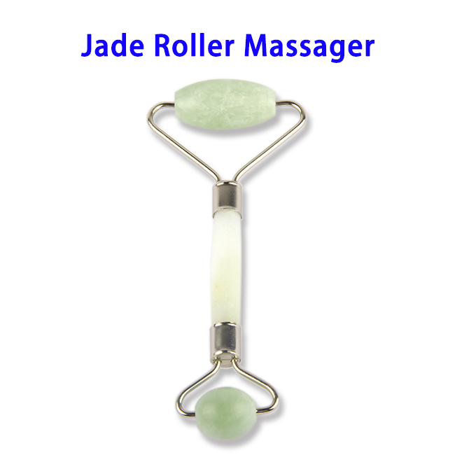 Noise Free Natural Stone Metal Welded Connector Jade Roller Massager (Green Jade)