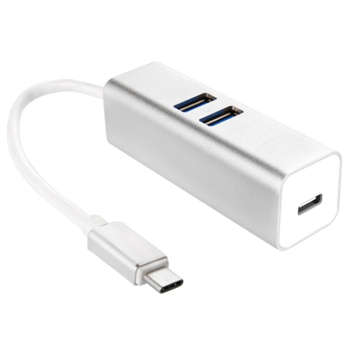 2 in 1 USB 3.1 Type-C to 2 Ports USB 3.0 & 1 USB 3.1 Type-C Charging / Data HUB Adapter for MacBook (Silver)