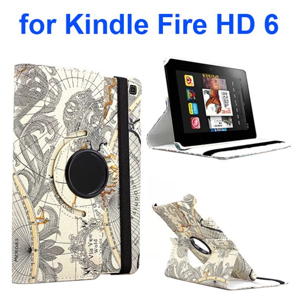 Word Map Texture 360 Degree Rotation Leather Flip Cover for Amazon Kindle Fire HD 6 (Grey)