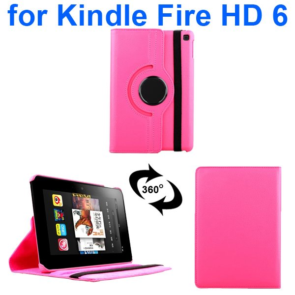 Litchi Texture 360 Degree Rotation Leather Flip Cover for Kindle Fire HD 6 2014 (Rose)
