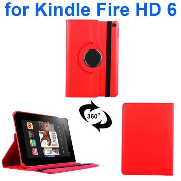 Litchi Texture 360 Degree Rotation Leather Flip Cover for Kindle Fire HD 6 2014 (Red)