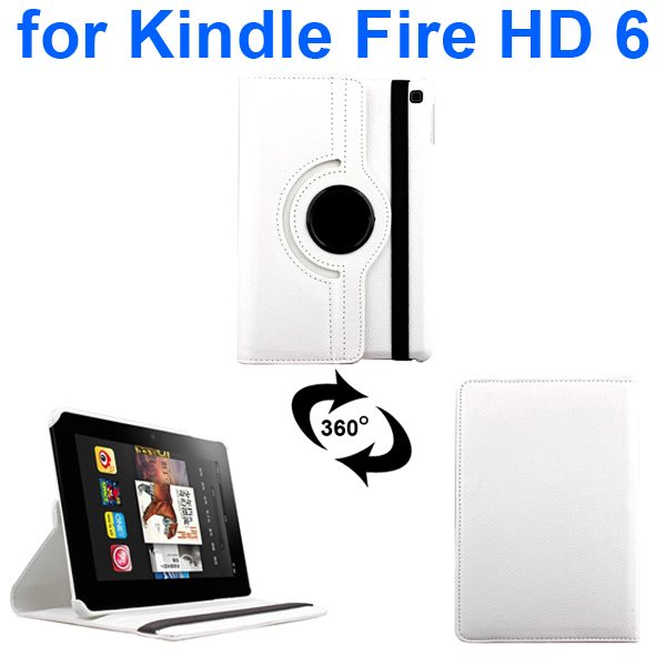 Litchi Texture 360 Degree Rotation Leather Flip Cover for Kindle Fire HD 6 2014 (White)