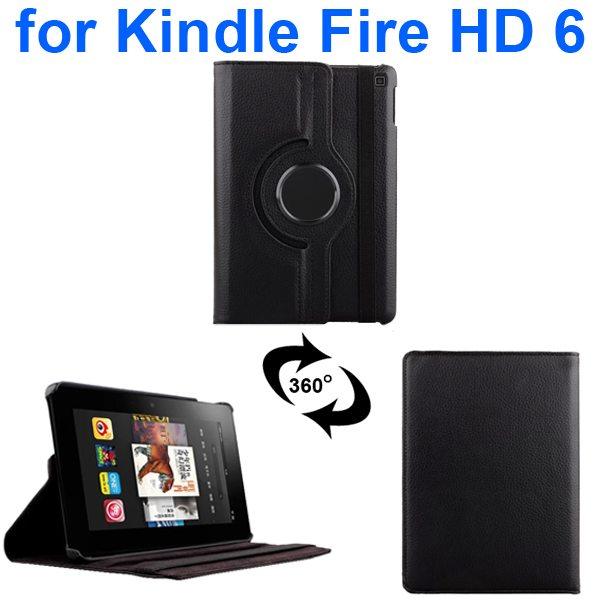 Litchi Texture 360 Degree Rotation Leather Flip Cover for Kindle Fire HD 6 2014 (Black)