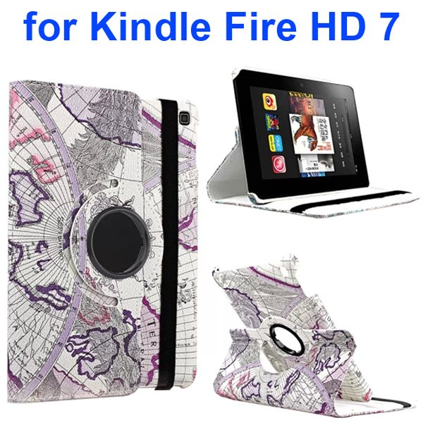 360 Rotating Retro Pattern Map Design Leather Cover for Amazon Kindle Fire HD 7 (Antarctica)