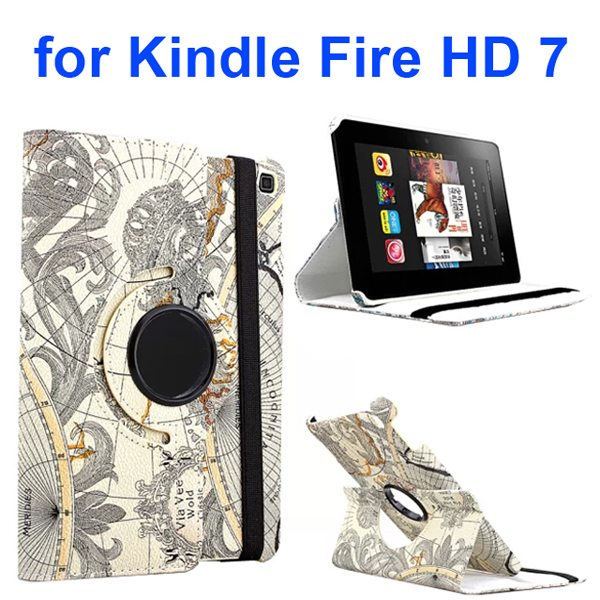 360 Rotating Retro Pattern Map Design Leather Cover for Amazon Kindle Fire HD 7 (Special Map Design)