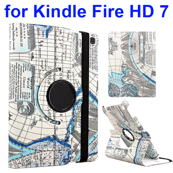 360 Rotating Retro Pattern Map Design Leather Cover for Amazon Kindle Fire HD 7 (Globe)