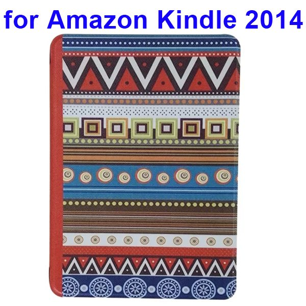 Creative Designs Color Painting Flip Leather Case for Amazon Kindle 2014 (Tribe Pattern)