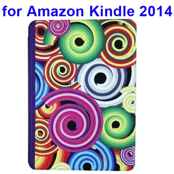 Creative Designs Color Painting Flip Leather Case for Amazon Kindle 2014 (Circle Pattern)