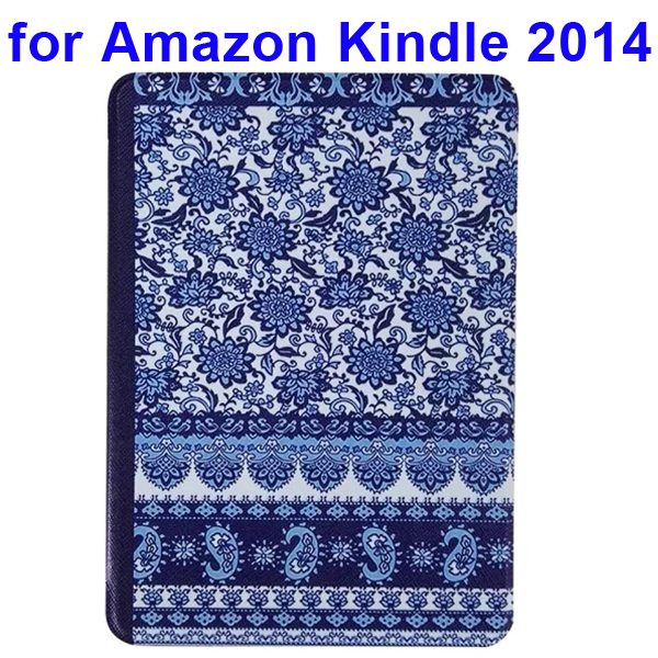 Creative Designs Color Painting Flip Leather Case for Amazon Kindle 2014 (Flowers Pattern)