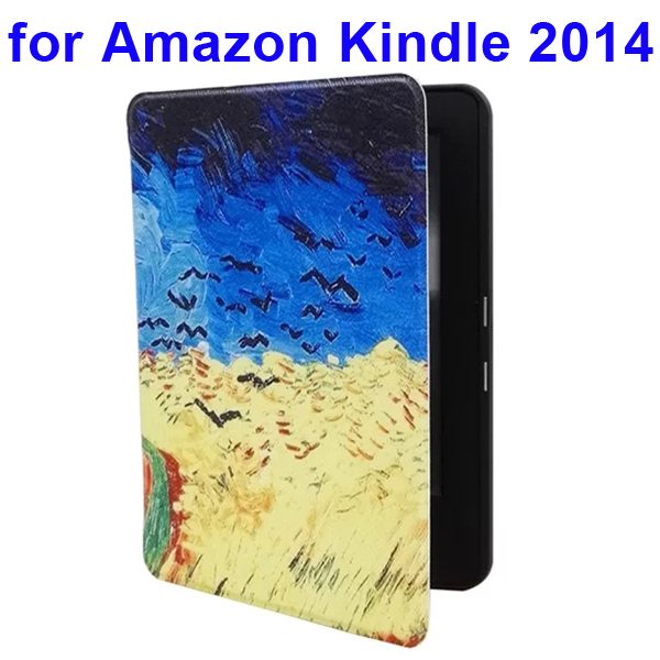 Creative Designs Color Painting Flip Leather Case for Amazon Kindle 2014 (Painting Pattern)