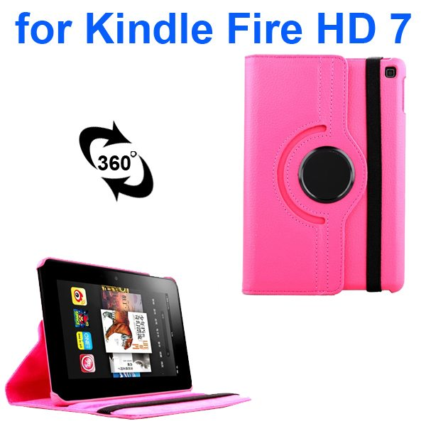 Litchi Texture 360 Degree Rotation Leather Flip Cover for Kindle Fire HD 7 2014 (Rose)