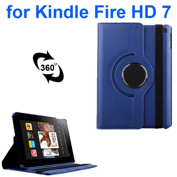 Litchi Texture 360 Degree Rotation Leather Flip Cover for Kindle Fire HD 7 2014 (Blue)