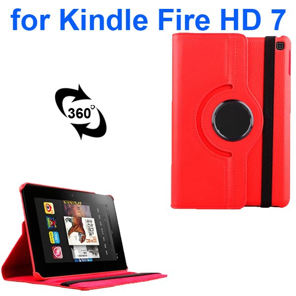 Litchi Texture 360 Degree Rotation Leather Flip Cover for Kindle Fire HD 7 2014 (Red)