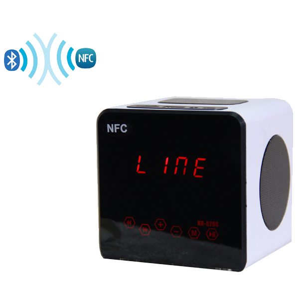 NFC TF Card Light Touch Portable Wood Bluetooth Mini Speaker with Radio Function (White)