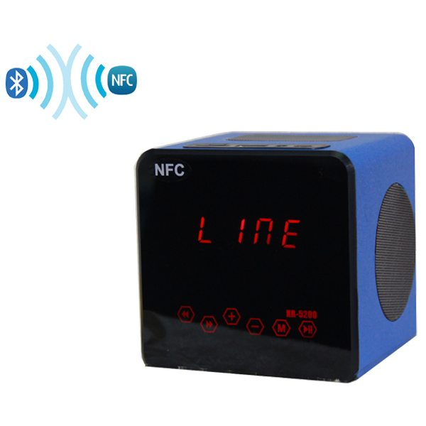 NFC TF Card Light Touch Portable Wood Bluetooth Mini Speaker with Radio Function (Blue)