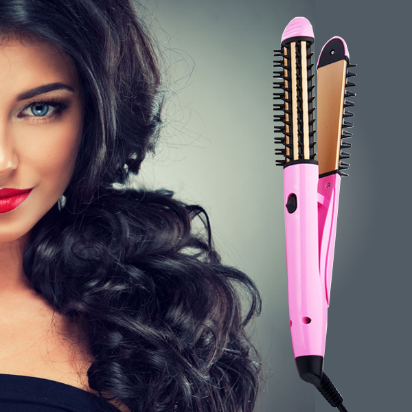Hot Selling JD-6862 Multifunctional 2 in 1 Electric Hair Curler and Straightener Brush (Pink)