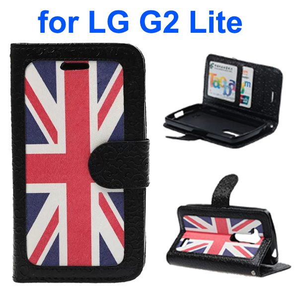 Embossed Style PU Leather Flip Cover Wallet Case for LG G2 Lite (UK Flag Pattern)