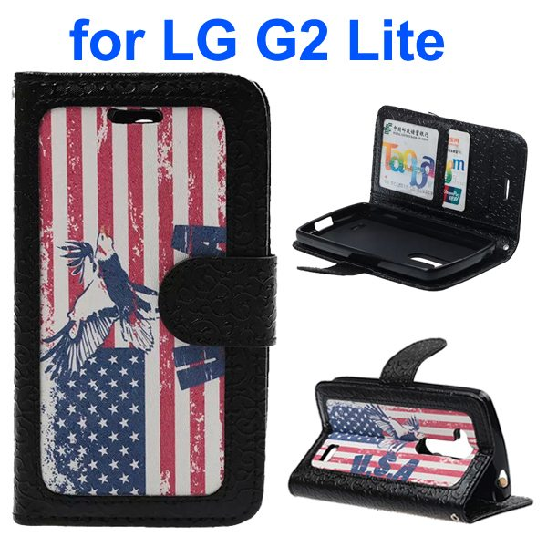 Embossed Style PU Leather Flip Cover Wallet Case for LG G2 Lite (US Flag Pattern)