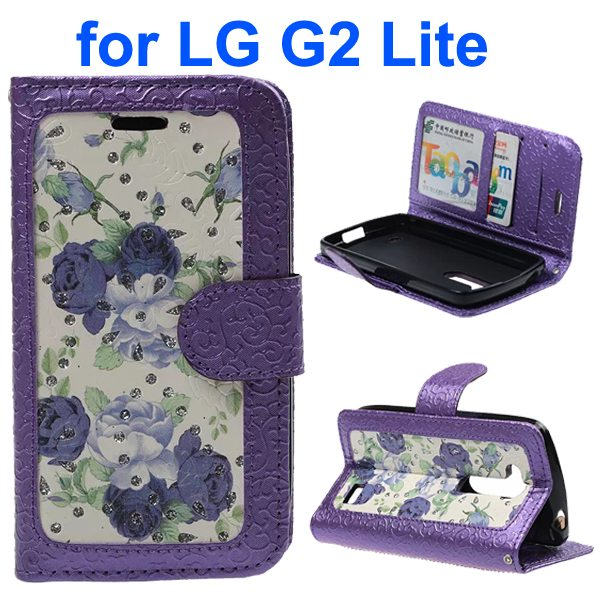 Embossed Style PU Leather Flip Cover Wallet Case for LG G2 Lite (Purple Rose Pattern)