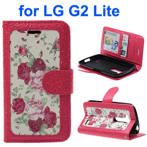 Embossed Style PU Leather Flip Cover Wallet Case for LG G2 Lite (Rose Pattern)