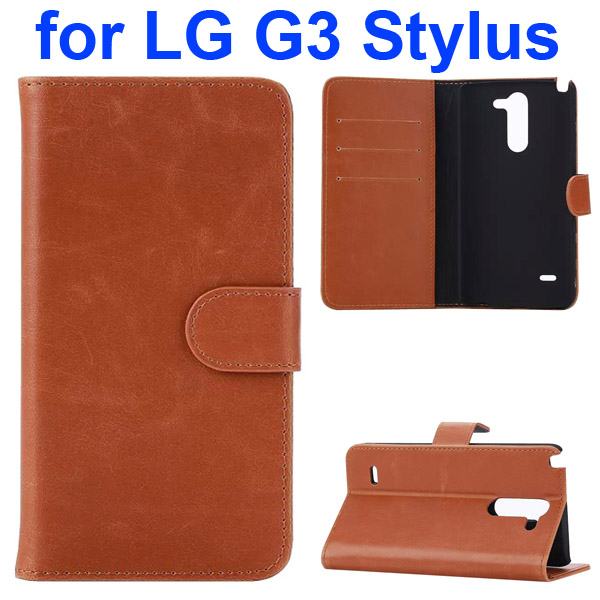 Crazy Horse Texture Flip Stand Leather Case for LG G3 Stylus (Brown)