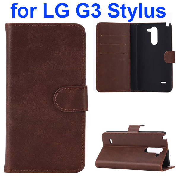 Crazy Horse Texture Flip Stand Leather Case for LG G3 Stylus (Coffee)