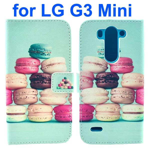 Wallet Style Flip Leather Case for LG G3 mini with Card Slots (Pretty Food Macarons Pattern)