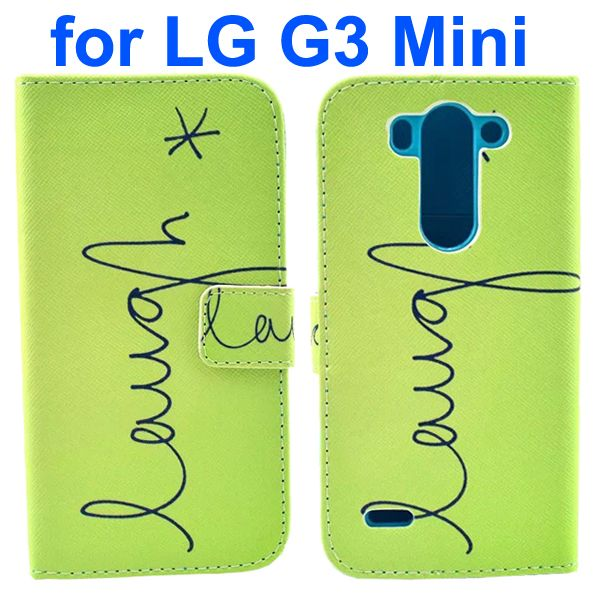 Wallet Style Flip Leather Case for LG G3 mini with Card Slots (Laugh Design Pattern)