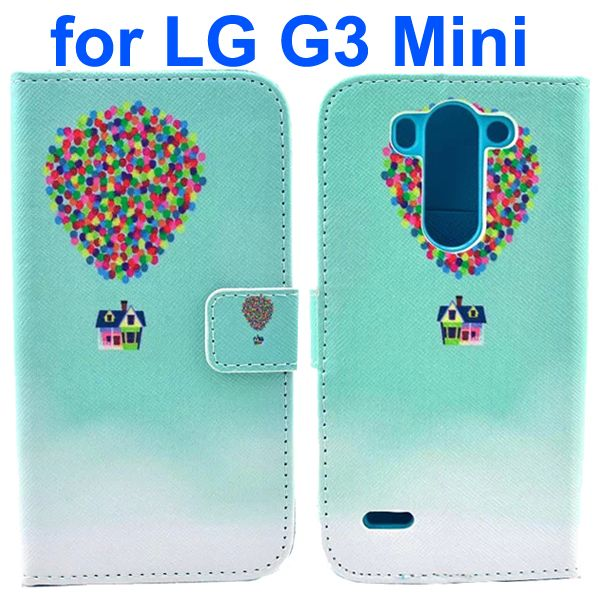 Wallet Style Flip Leather Case for LG G3 mini with Card Slots (Colorful Abstract Air Balloon Pattern)