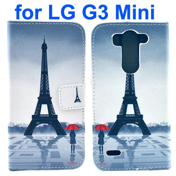 Wallet Style Flip Leather Case for LG G3 mini with Card Slots (Eiffel Tower Pattern)