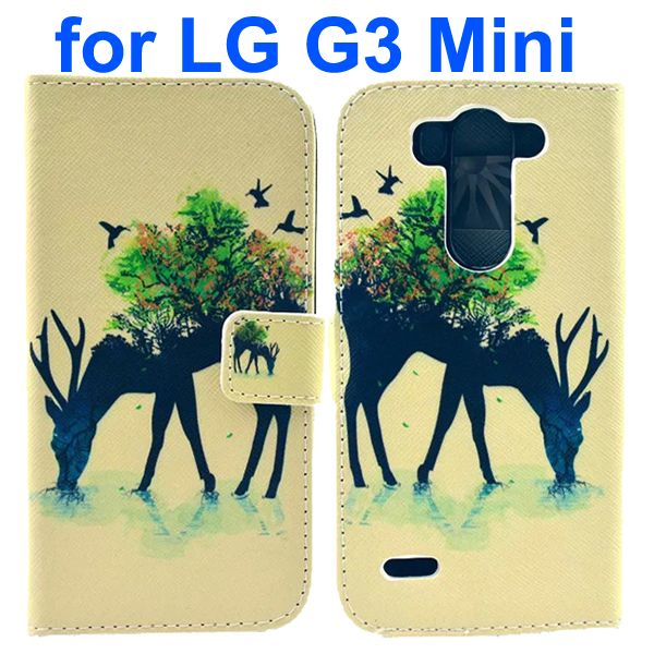 Wallet Style Flip Leather Case for LG G3 mini with Card Slots (Deer Park Graphics and Advertising Pattern)