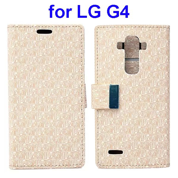 New Design Maze Pattern PU Wallet Leather Flip Cover for LG G4 (Beige)