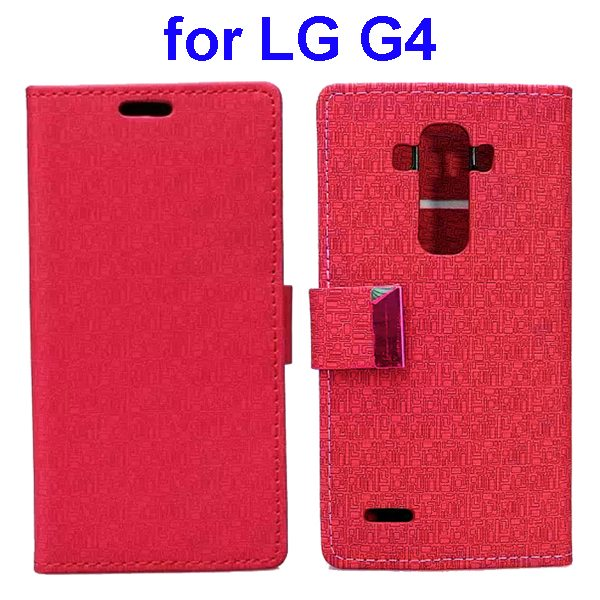 New Design Maze Pattern PU Wallet Leather Flip Cover for LG G4 (Red)