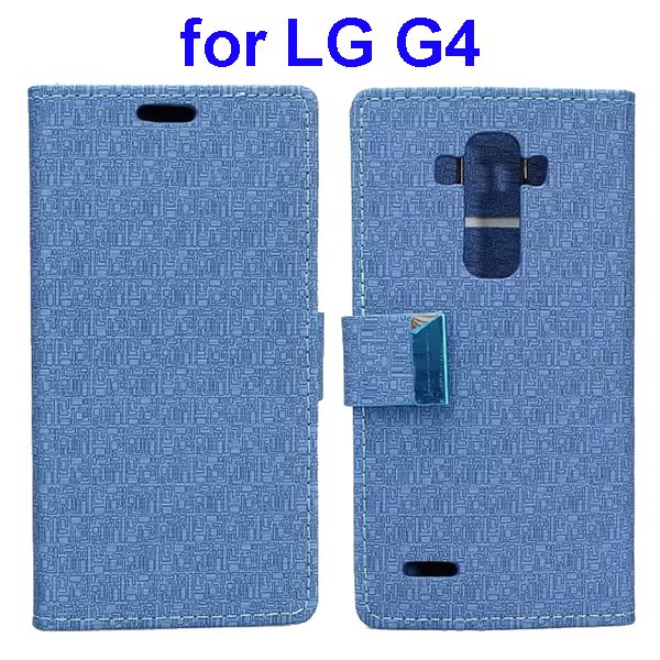 New Design Maze Pattern PU Wallet Leather Flip Cover for LG G4 (Blue)