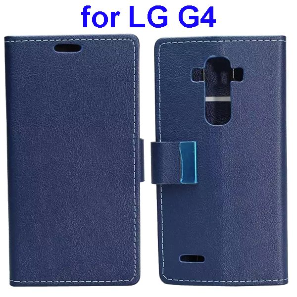 Karst Texture PU Leather Folio Flip Wallet Case for LG G4 with Stand and Card Slots (Dark Blue)