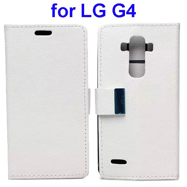 Karst Texture PU Leather Folio Flip Wallet Case for LG G4 with Stand and Card Slots (White)