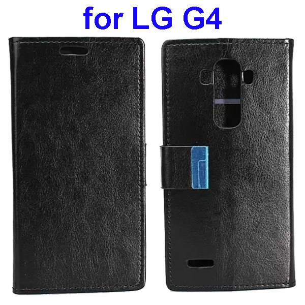 Crystal Texture Wallet Style Flip Stand PU Leather Cover Case for LG G4 (Black)