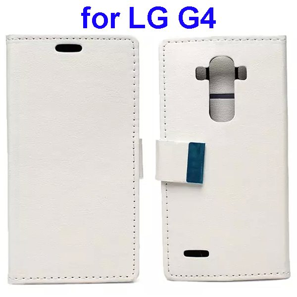 Crystal Texture Wallet Style Flip Stand PU Leather Cover Case for LG G4 (White)