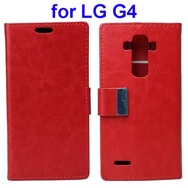 Crystal Texture Wallet Style Flip Stand PU Leather Cover Case for LG G4 (Red)