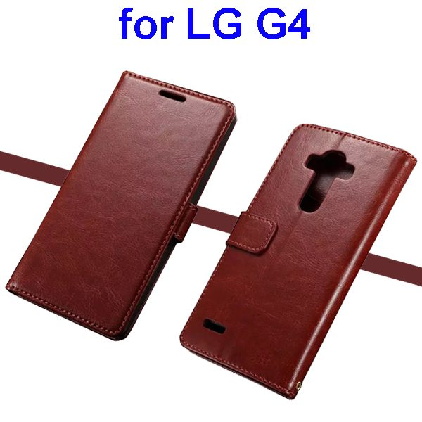 Oil Coated Wallet Style Flip Stand PU Leather Phone Case Cover for LG G4 (Brown)